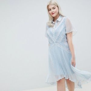 ASOS Curve Dresses - Asos Curve baby blue collar high low pleated dress